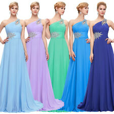One Shoulder Sexy Chiffon Long Formal Dress Evening Maxi Bridesmaid Party Prom