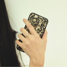 Women Retro Black Lace Floral Phone Case Protect Cover Shell for iPhone 6/6s
