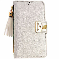 Luxury SILVER PU Leather Flip Wallet Purse Case Card Holder for iPhone 6 6S Plus
