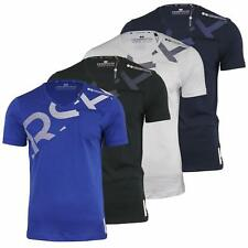 Mens T Shirt Crosshatch V Neck Graphic Short Sleeved Casual Cotton Top S-XXL (