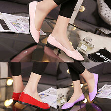 Women Casual Candy Color Flat Shoes Faux Patent Leather Pointed Shoes Latest