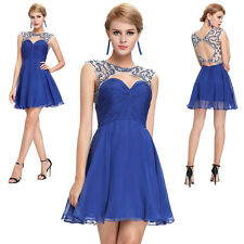 Blue Sexy Hollowed Embroidery Sleeveless Short Tulle Dress Evening Party Prom