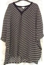 Womens Monsoon Black And White See-through Batwing Top/blouse In Size Medium
