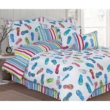 NEW Twin Full Queen King Bed White Blue Pink Stripe Flip Flops 7pc Comforter Set