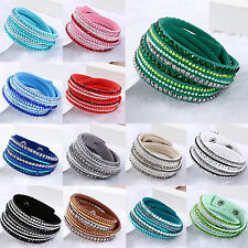 Be Women New Crystal Cuff Bangles Leather Bracelet Rhinestone Deluxe Multilayer