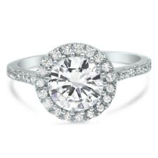 Round Halo Cubic Zirconia Silver Engagement Ring Pave Band