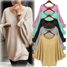 Women Batwing Sleeve Sweater Jumper Pullover Loose Knitwear Tops Blouse Shirts