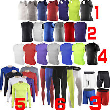 Mens Compression Base Layer Sports T Shirts Tight Shorts Trousers Gym Tank Tops