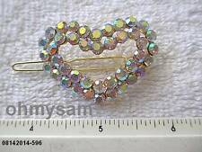 """(1 )NEW GOLD TONE  METAL HAIR CLIP/CLEAR  IRIDESCENT  STONE  1 3/4 """" x 7/8"""""""