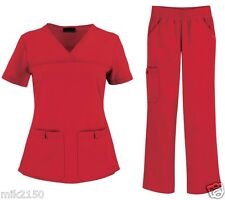 Cherokee Pro Flexibles Red Scrub Set Top/ 2968 Pant/ 2085 Reg Petite SoilRelease