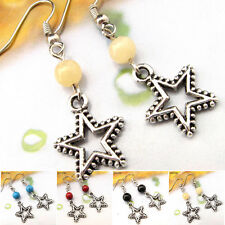 Special Offer Tibetan Silver Gemstone Turquoise Coral Star Earrings EH535