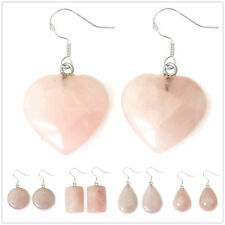 Special Offer, Silver Hook Natural Rose Quartz Earrings EH802