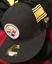 Pittsburgh Steelers Fitted Hat New Era Jersey Black Cap Mens Size 7 1/2, 1/4, 8