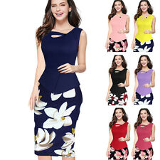 Womens Floral Patchwork Bodycon Peplum Office Cocktail Pencil Dress Wear to Work