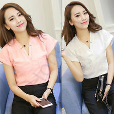 Korea Summer Women's Casual Short Sleeve Chiffon T Shirt Blouse V neck Tops New