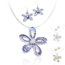 Special Offer, Flower Silver Plated Necklace Earrings Set XC148