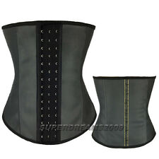 NEW Arrival Black waist training real Latex rubber Corset Shaper sport Basque UK