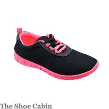 LADIES WOMENS GIRLS BLACK LIGHT WEIGHT SPORTS TRAINER SHOES SIZE 3,4,5,6,7,8