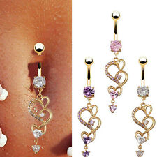 New Brand Reverse Belly Ring Dangle Clear Navel Bar Gold Body Jewelry Piercing