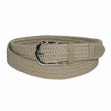 New CTM Mens Elastic Braided Stretch Belt with Silver Buckle and Matching Tabs