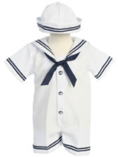Baby Boys Sailor Romper Suit & Hat White and Navy Sister Suit Also Available