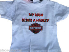 Harley Davidson Tee Shirt T-Shirt Mom Rides a Harley Boys Girls Baby New White