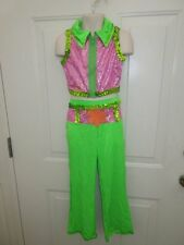 Lime Green Pink 60's 70's Dance Costume Jazz Tap Medium Large Child New