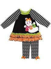 Rare Editions Black Orange Green Pink Ghost Boo Legging Set  2T 3T 4T
