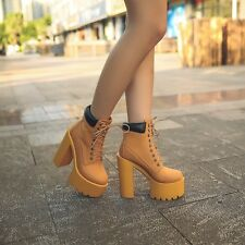 New Womens Block High Heels Booties Platform Ankle Lace Up Fashion Martin Boots