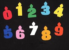 """Birthday Candle Die Cuts, 4 pcs - You choose numbers and colors, 6"""" tall"""