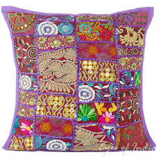 "16"" Purple Patchwork Decorative Sofa Pillow Cushion Throw Cover Bohemian Indian"