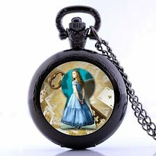 Alice in Wonderland Alice Quartz Pocket Watch Necklace Chain for Boys Girls Gift