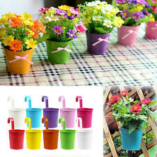 1~10X Metal Iron Hanging Balcony Garden Plant Planter Flower Home Decoration EC