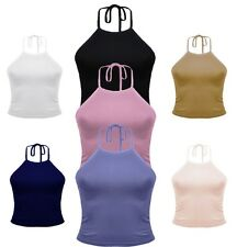 NEW WOMENS LADIES CASUAL SLEEVELESS PLAIN HALTER NECK CROP TOP GIRLS SEXY VEST
