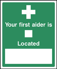 Your First Aider is located Sign