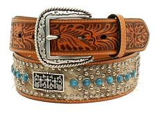 Ariat Western Mens Belt Leather Calf Hair Cross Concho Turq Tan A1023608