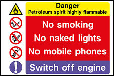Petroleum Spirit Highly Flamable Sign