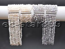 X0480 Set 7Strds 8mm Gray & White Baroque FW Pearl Necklace & Bracelet Magnet