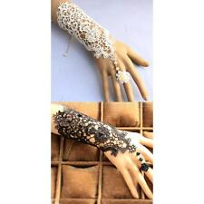 Bridal Lace Wrist Cuffs Fingerless Glove Bracelet with Ring Jewelry