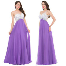 One Shoulder Beaded Chiffon Long Evening Dress Bridesmaids Party Prom Ball Gown