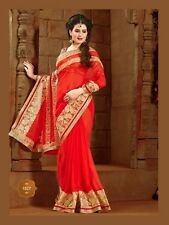 Indian Pakistani Bollywood Designer Varied Color Golden Embroidery Blouse Saree