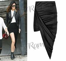 New Women Cut Out Ruched Side Slit Drape Long WetLook Asymmetric Midi Maxi Skirt
