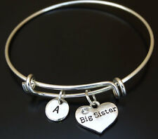 PERSONALIZED Big Sister Bangle Bracelet - choose your Initial, Big Sister Gift