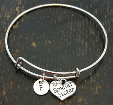 PERSONALIZED Special Sister Bangle Bracelet - choose your Initial, Sister Gift