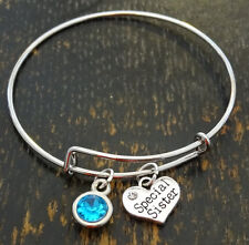 PERSONALIZED Special Sister Bangle Bracelet - choose your Birthstone