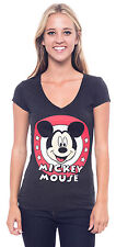 Disney Mickey Mouse T-Shirt V-neck Juniors Club Logo Graphic Short Sleeve Tee