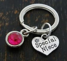 PERSONALIZED Special Niece Keychain - choose your Birthstone, Niece Gift