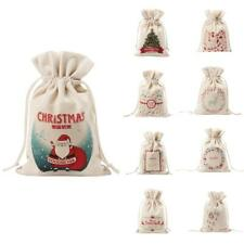 Canvas MERRY CHRISTMAS Drawstring Jute Candy Gift Christmas Favors Bags Pouches