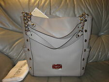 MICHAEL KORS DELANCY LARGE PEARL GREY LEATHER TOTE PURS BAG NWT $498 DUST BAG