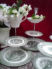 Wedding Cake Stand 3 Tier Green Wilow China VIntage Rustic Vintage Serving Tray